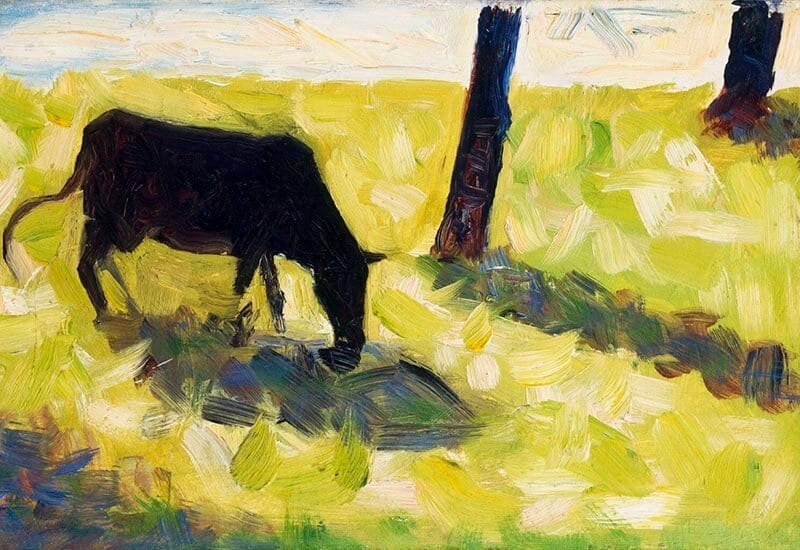 Black Cow in a Meadow (ca. 1881) by Georges Seurat.