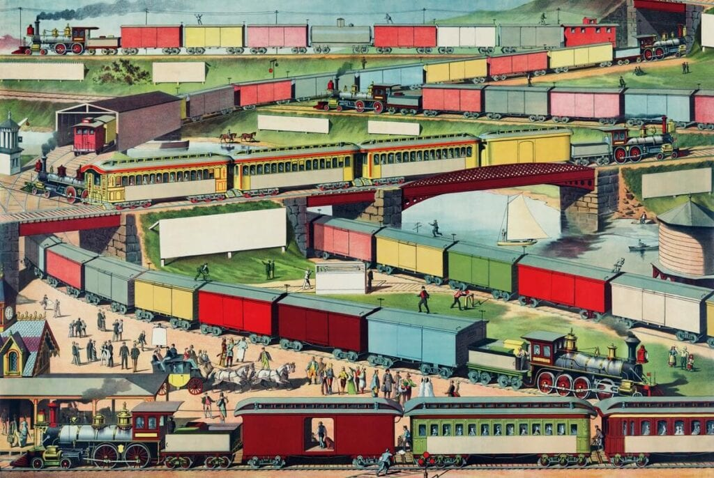 Zig-zag Passenger and Freight Train by an unknown artist