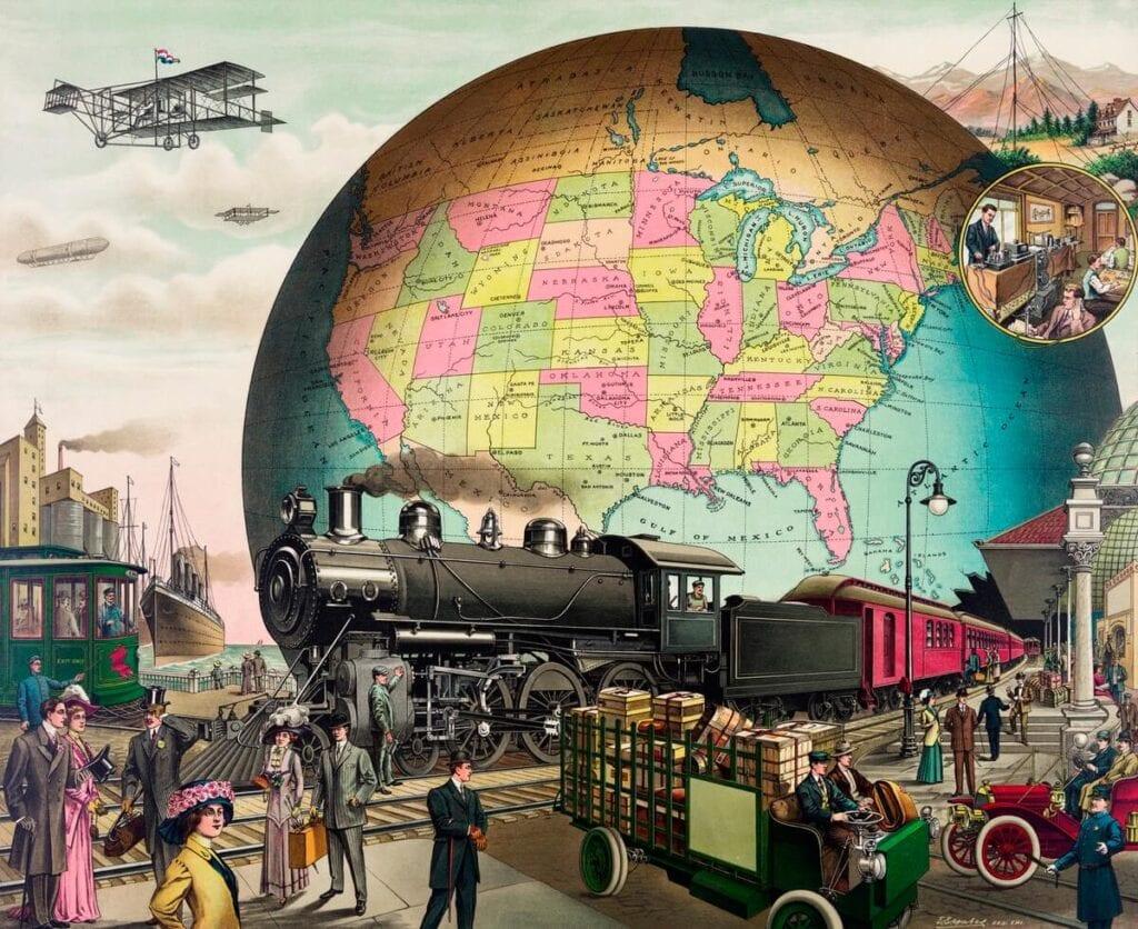 Twentieth Century Transportation, a chromolithograph by E.S Yate