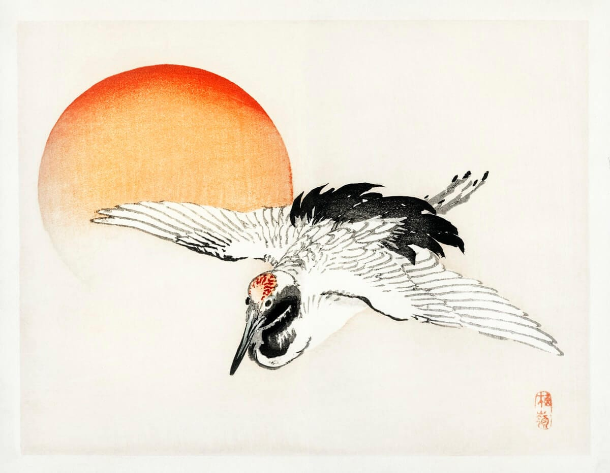 Flying Barn swallow by Kōno Bairei (1844-1895) Digitally enhanced from our own original 1913 edition.