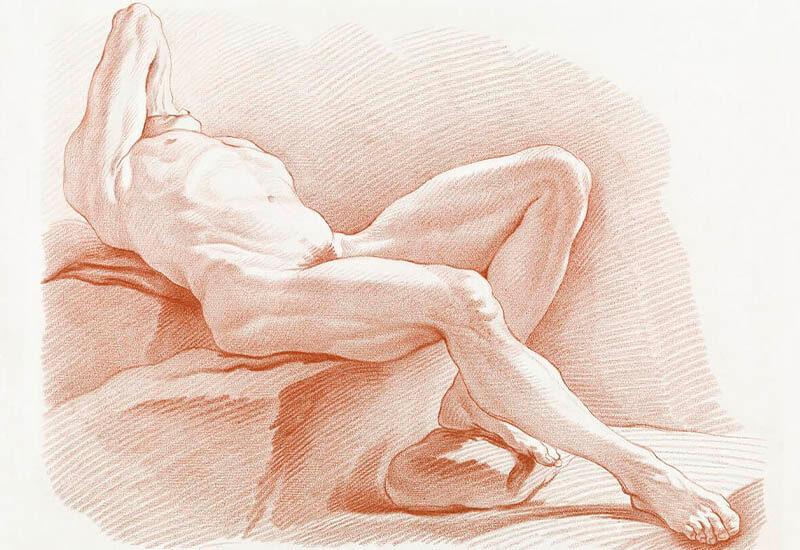 Naked man posing sexually. Liggend mannelijke naakt by Gilles Demarteau.