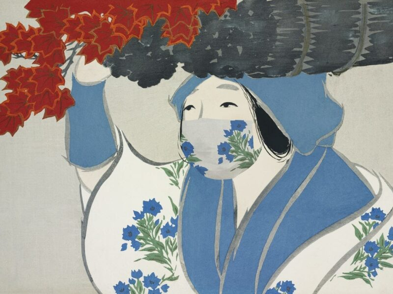 donna asiatica con maschera