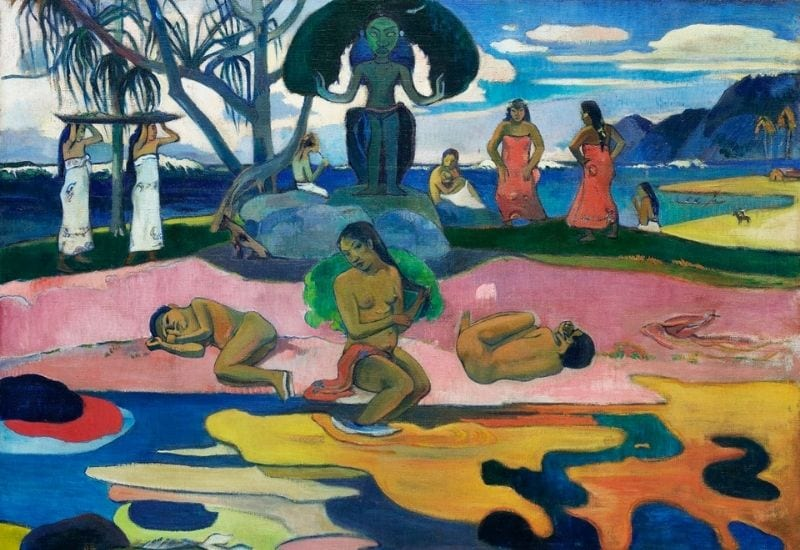 Day of the God (Mahana no atua) (1894) by Paul Gauguin. Original from The Art Institute of Chicago. Digitally enhanced by rawpixel.