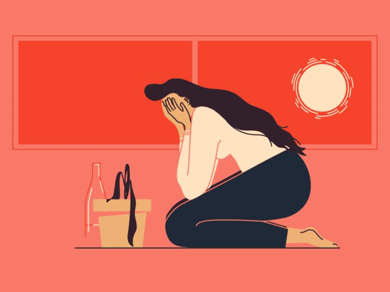 donna che piange con una pianta morta