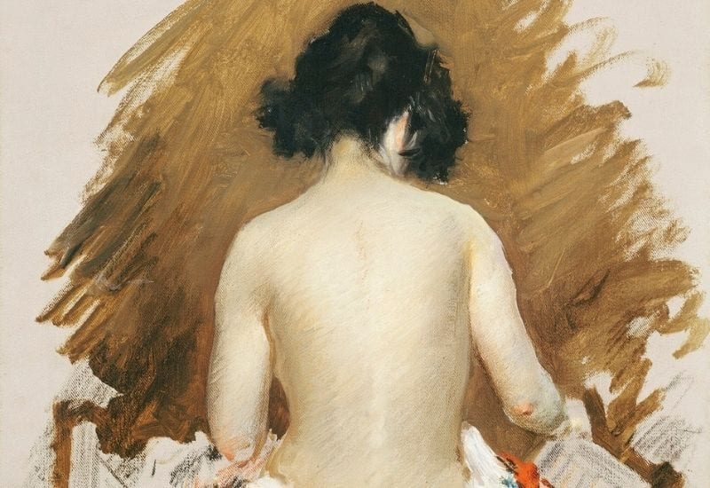 Naked Japanese woman with a kimono, vintage erotic art. Nude (1901) by William Merritt Chase.